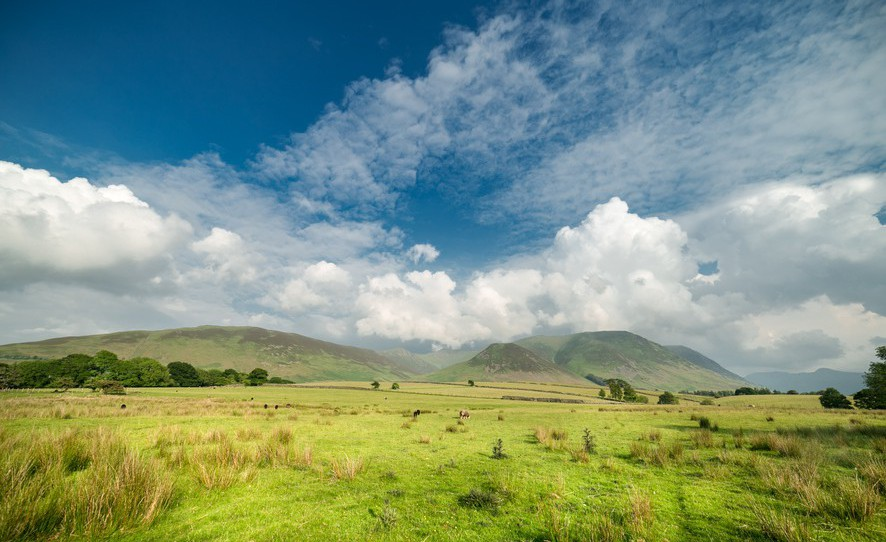 Bright Cloudy Sky over Cumbrian Hills, Lake District UK
